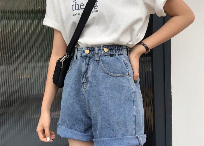 กางเกงยีนส์ขาสั้นผู้หญิง กางเกงขากว้าง