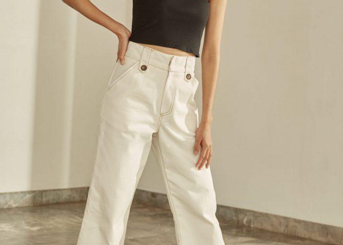 เสื้อผ้าวินเทจ แนวฮิปสเตอร์ กางเกงยีนสีขาว