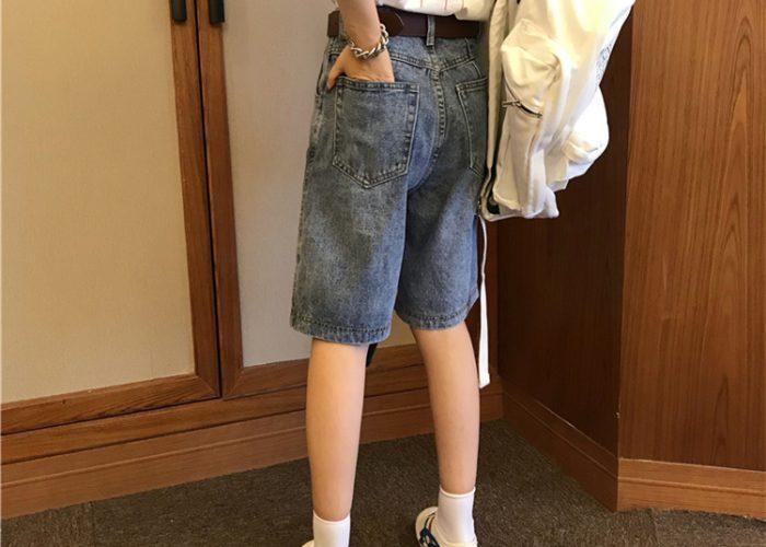 กางเกงยีนส์ขาสั้นผู้หญิง ทรงเอวสูงตรง