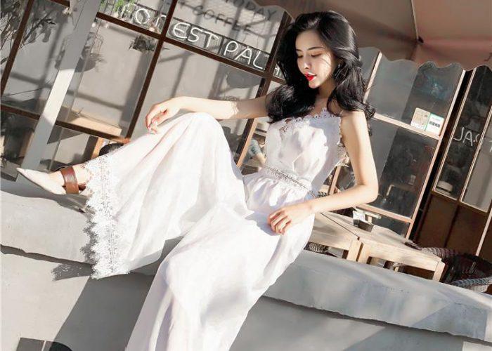 ชุดไปงานแต่งกลางวันแบบกางเกง Long Skirts สีขาว